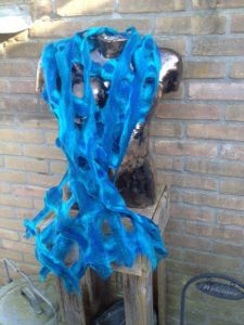 Blauwe Sjaal Met Raster